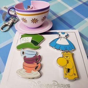 DisneyParks Alice In Wonderland Pins & Keychain